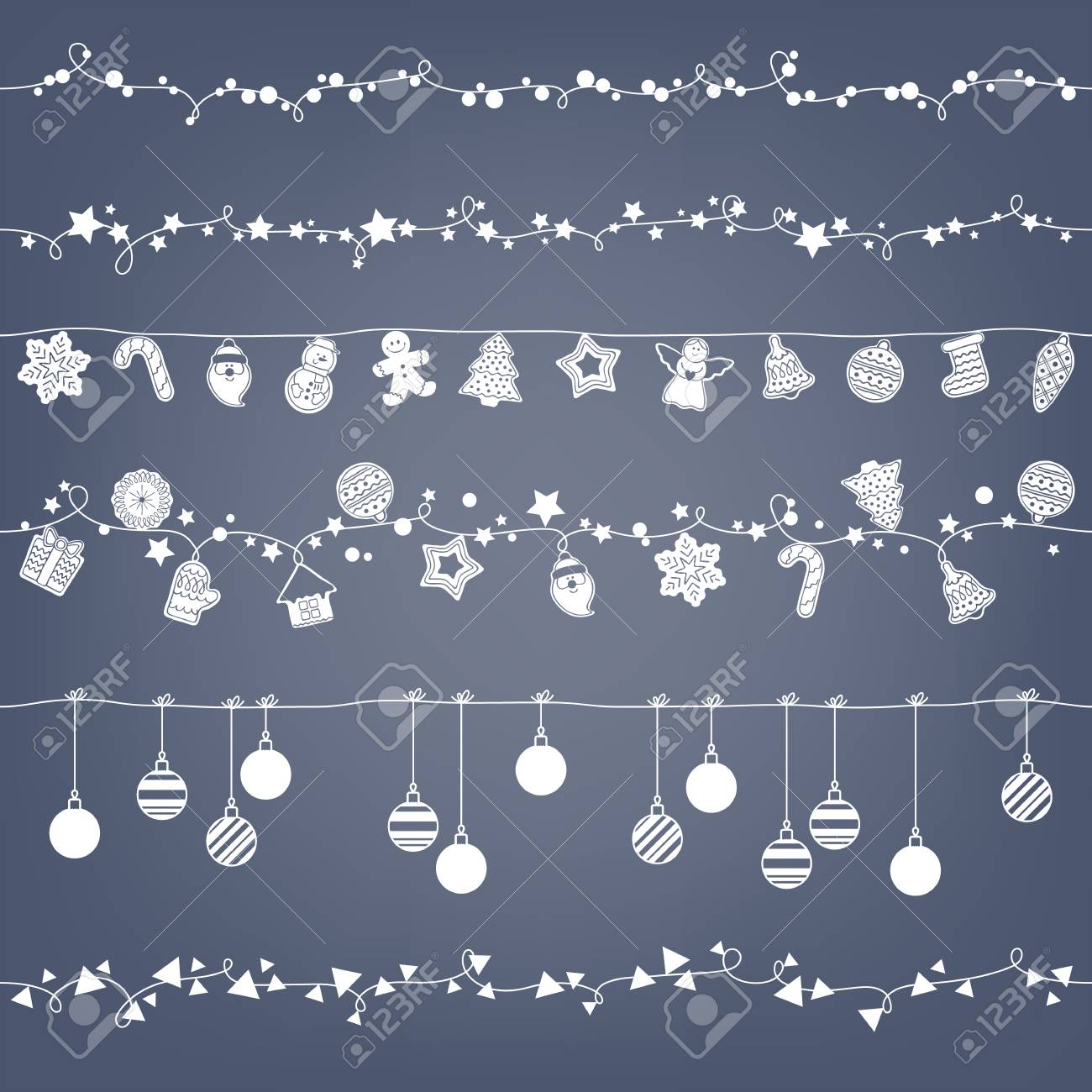 garlands seamless horizontal borders set party new year christmas decorations cookies and christmas balls