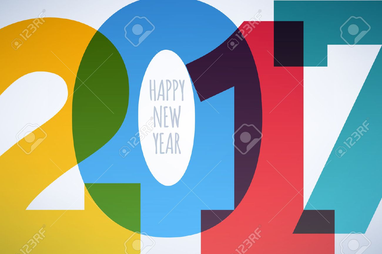 Happy New Year 2017 colorful symbol background. Calendar design typography illustration. Overlapping digits design with shadows. Postcard design with greetings. - 63174435
