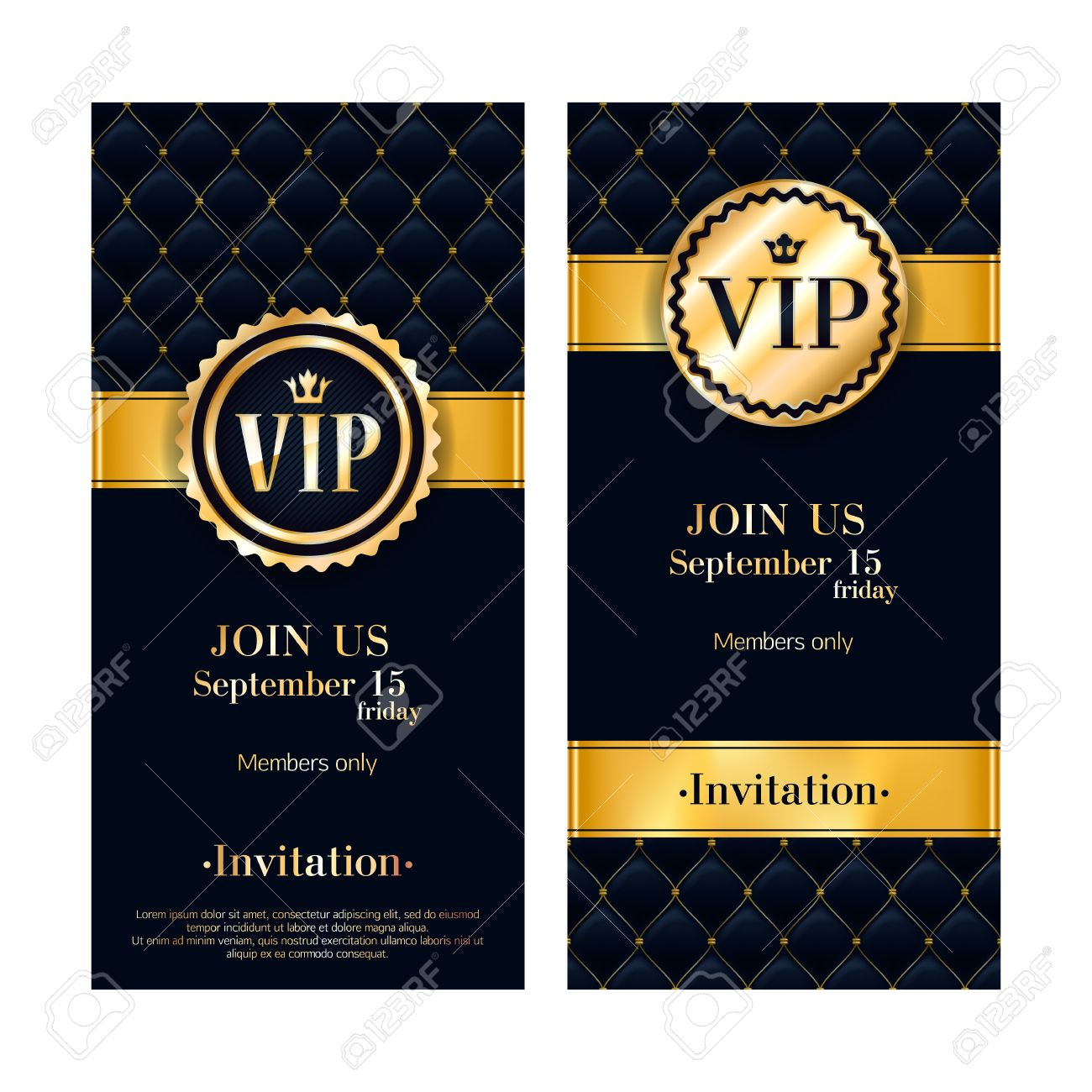 Vip party premium invitation card poster black and golden design 63174582 vip party premium invitation card poster black and golden design template quilted pattern decorativeg stopboris Gallery