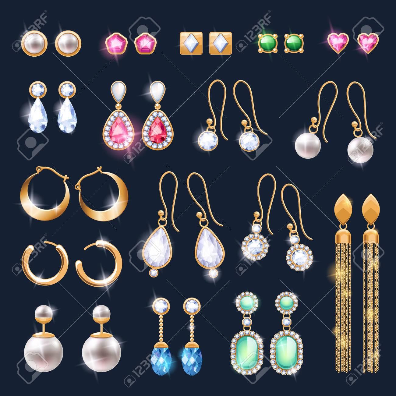 316cdea34b66 Foto de archivo - Pendientes de joyería accesorios realistas iconos. Oro y  piedras preciosas perlas de diamante colgante ilustración vectorial.