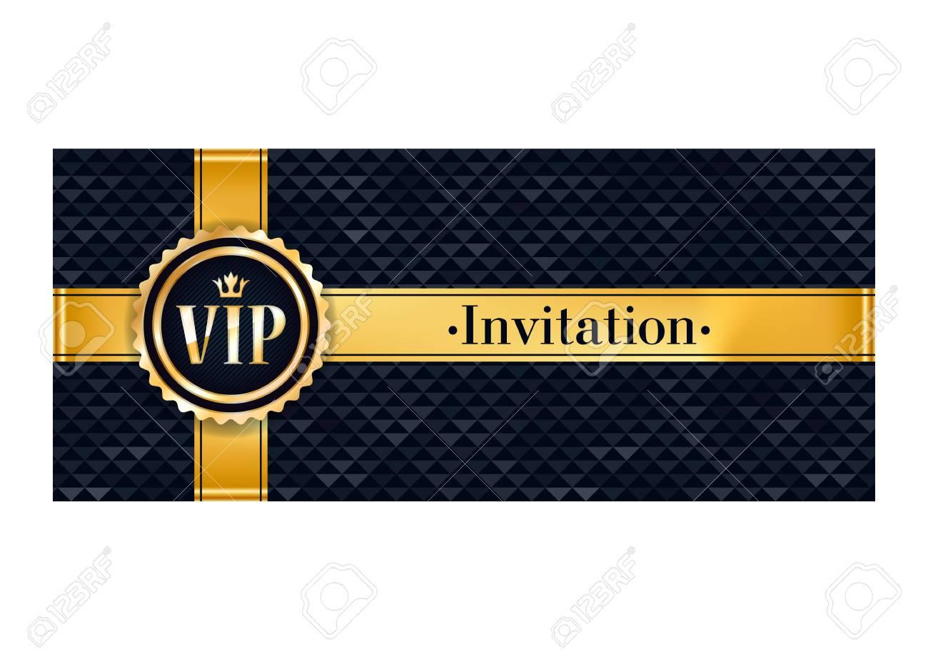 Flyer De Cartel De Tarjeta De Invitación Premium De Fiesta Vip Plantilla De Diseño Negro Y Dorado Fondo Decorativo Del Triángulo Facetado Con Cinta