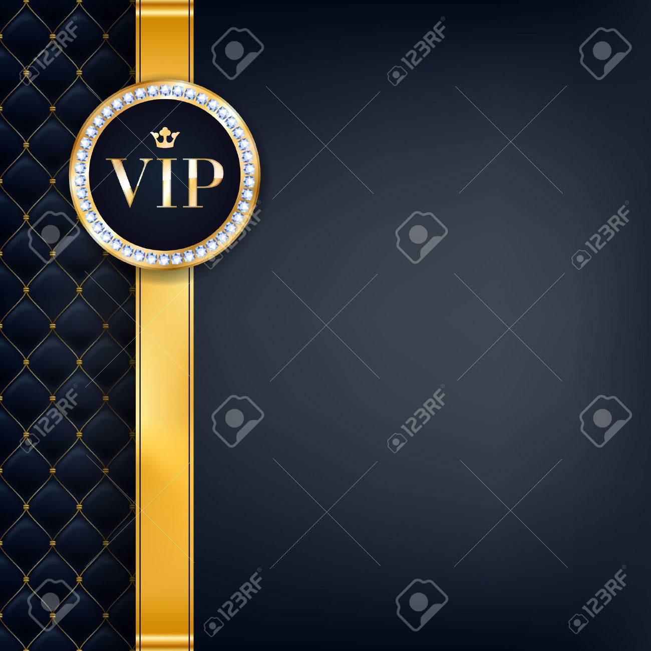 VIP party premium invitation card poster flyer. Black and golden design template. Quilted pattern decorative background with gold ribbon and round badge. - 68712407