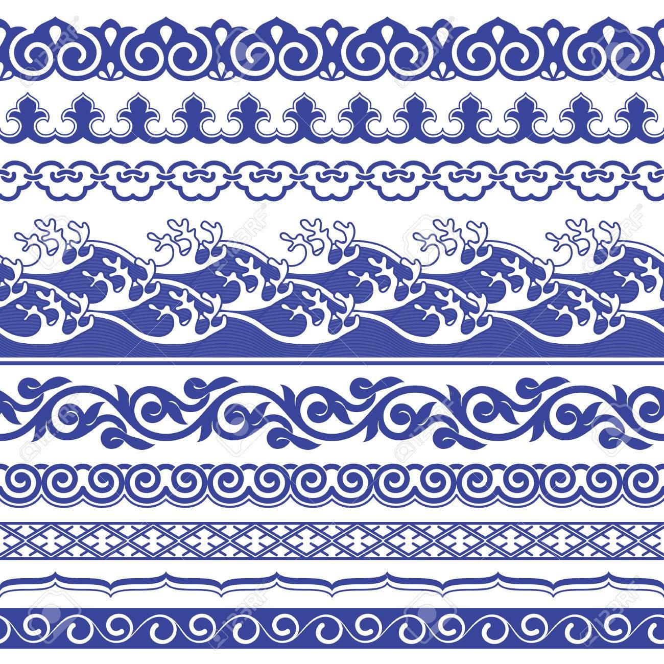 Chinese porcelane seamless borders vector set. - 70142714