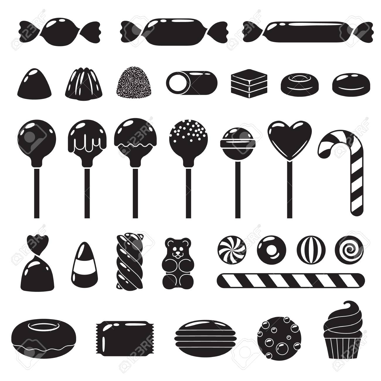 Set of different sweets. Assorted candies. - 74724065