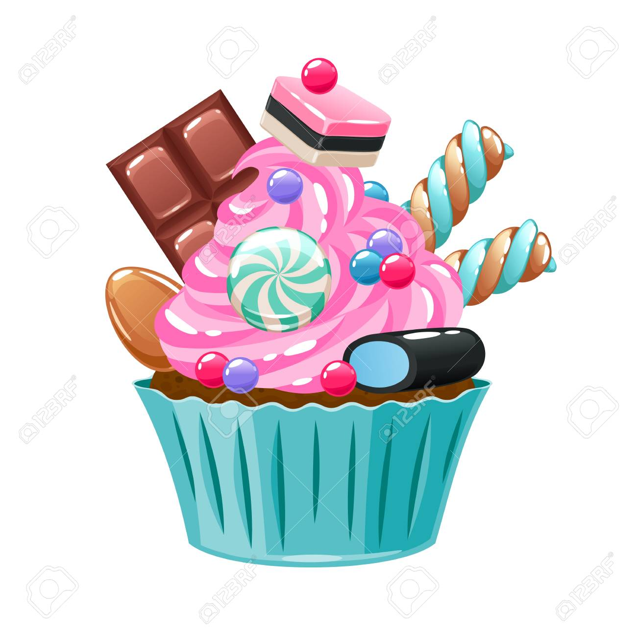 Colorful Cupcake Decorated With Sweets And Candies Royalty Free