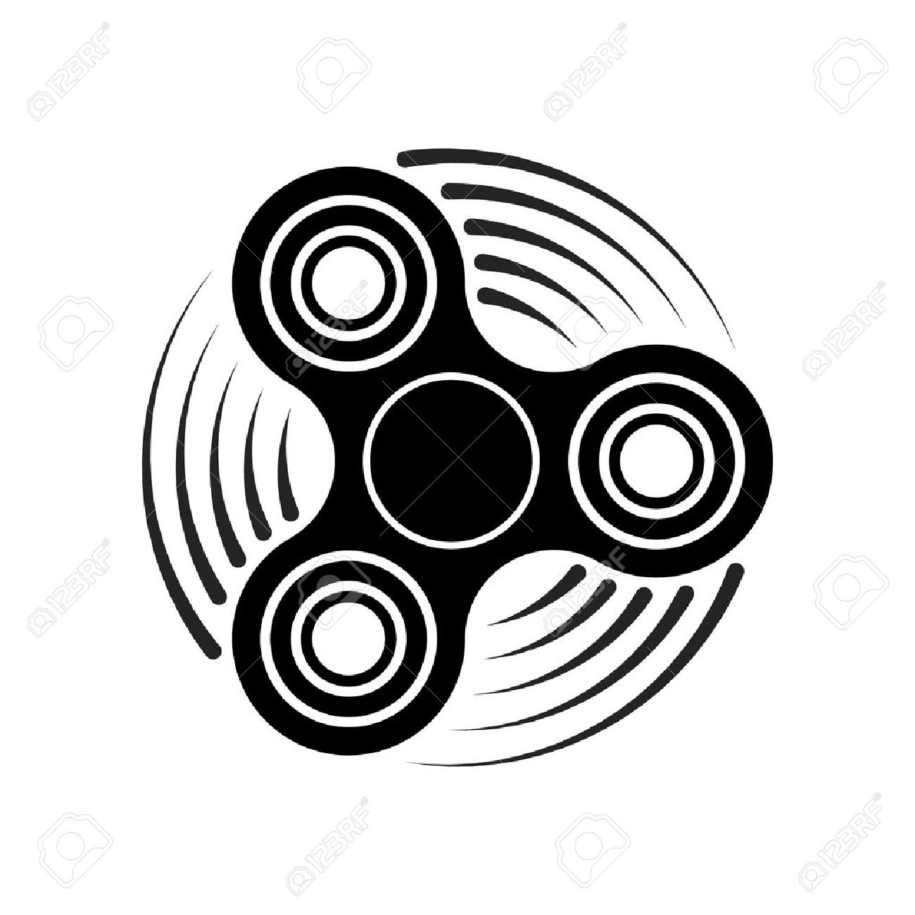 hand fidget spinner toy icon stress and anxiety relief spinning