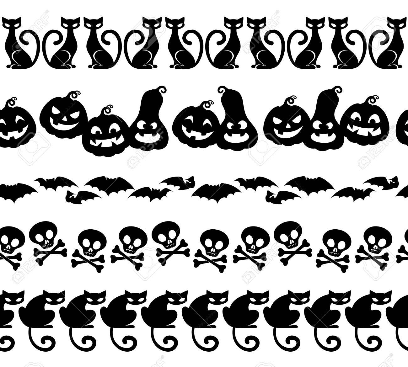 Halloween Black Icons Borders Set. Pumpkin, Black Cats, Bat ...
