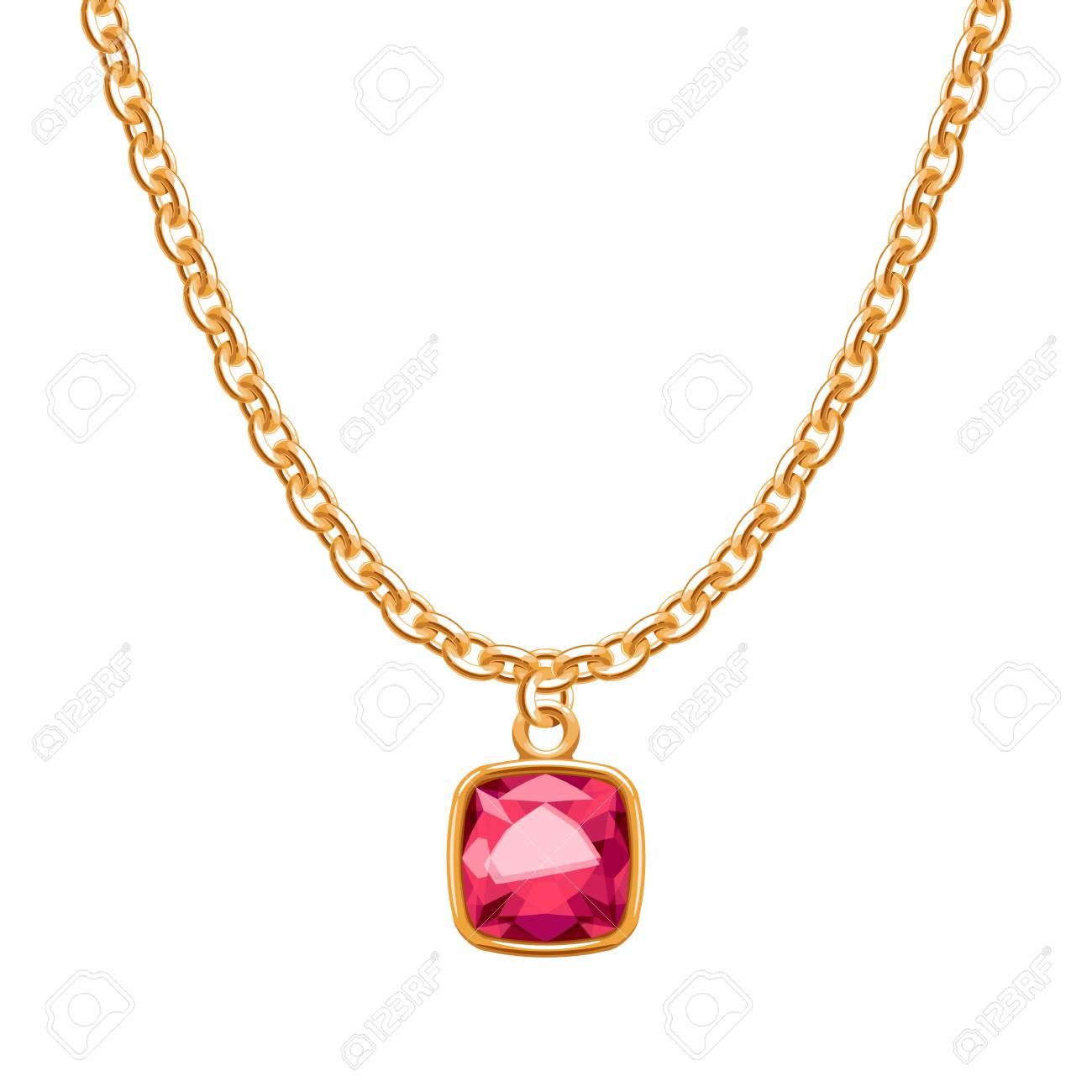 nueva llegada 90e16 67a2d Collar de cadena de oro con colgante de piedras preciosas de rubí.