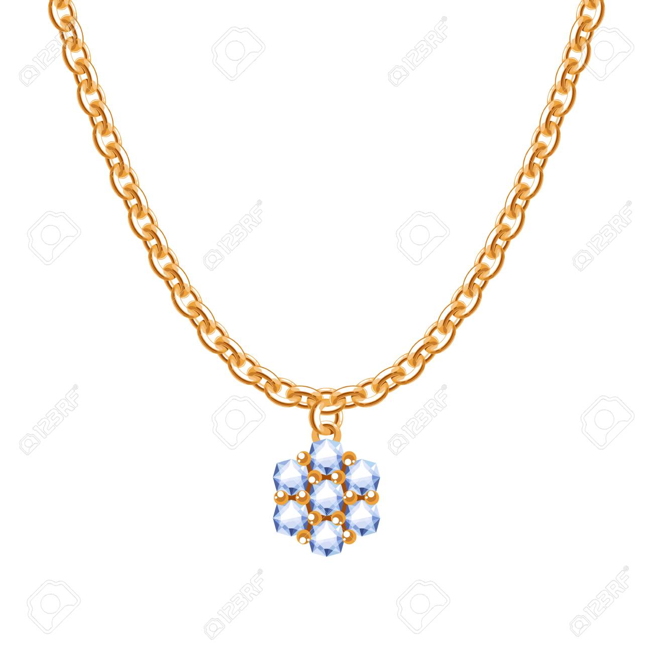 Golden Chain Necklace With Diamond Flower Pendant Royalty Free