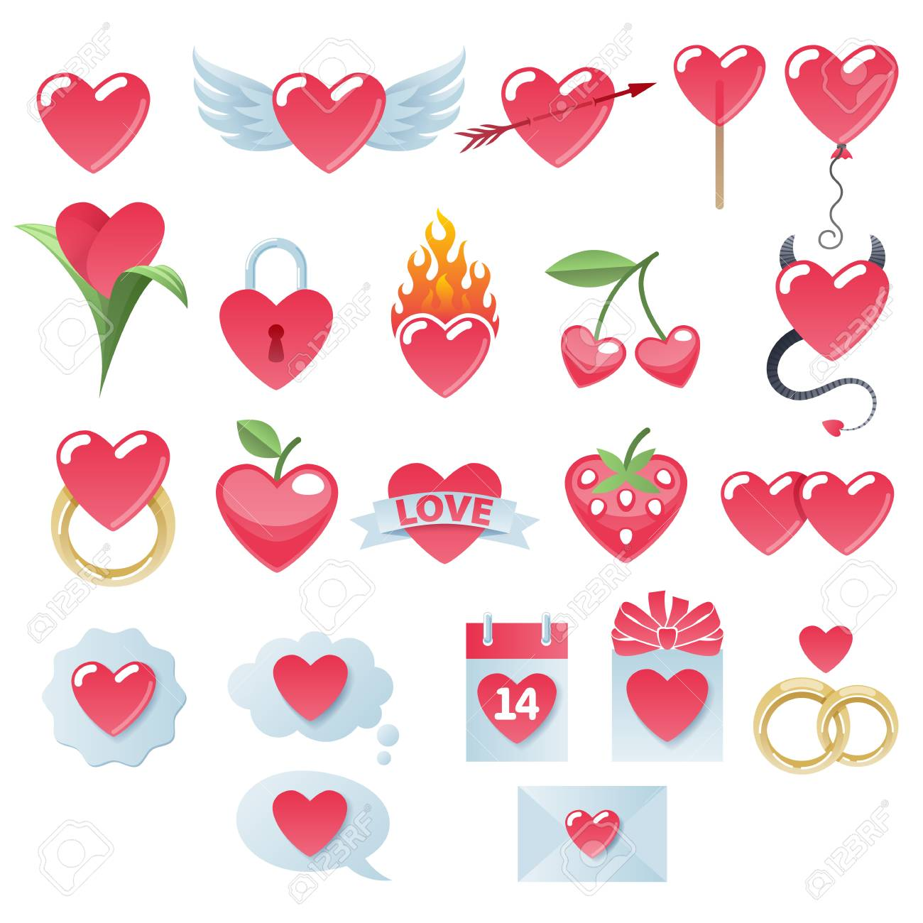 Valentine S Day Hearts Icons Set Love Symbols Royalty Free
