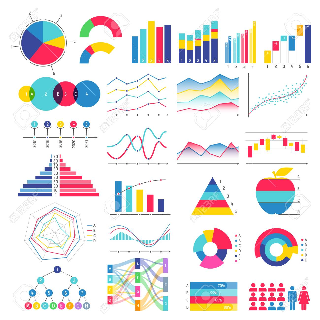 Colorful graphs and charts design.