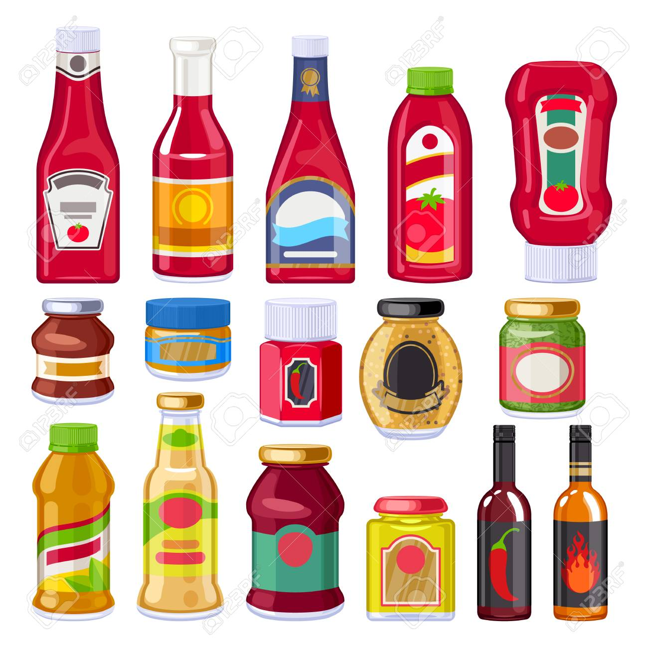 Sauces and dressings bottles set. - 101298420