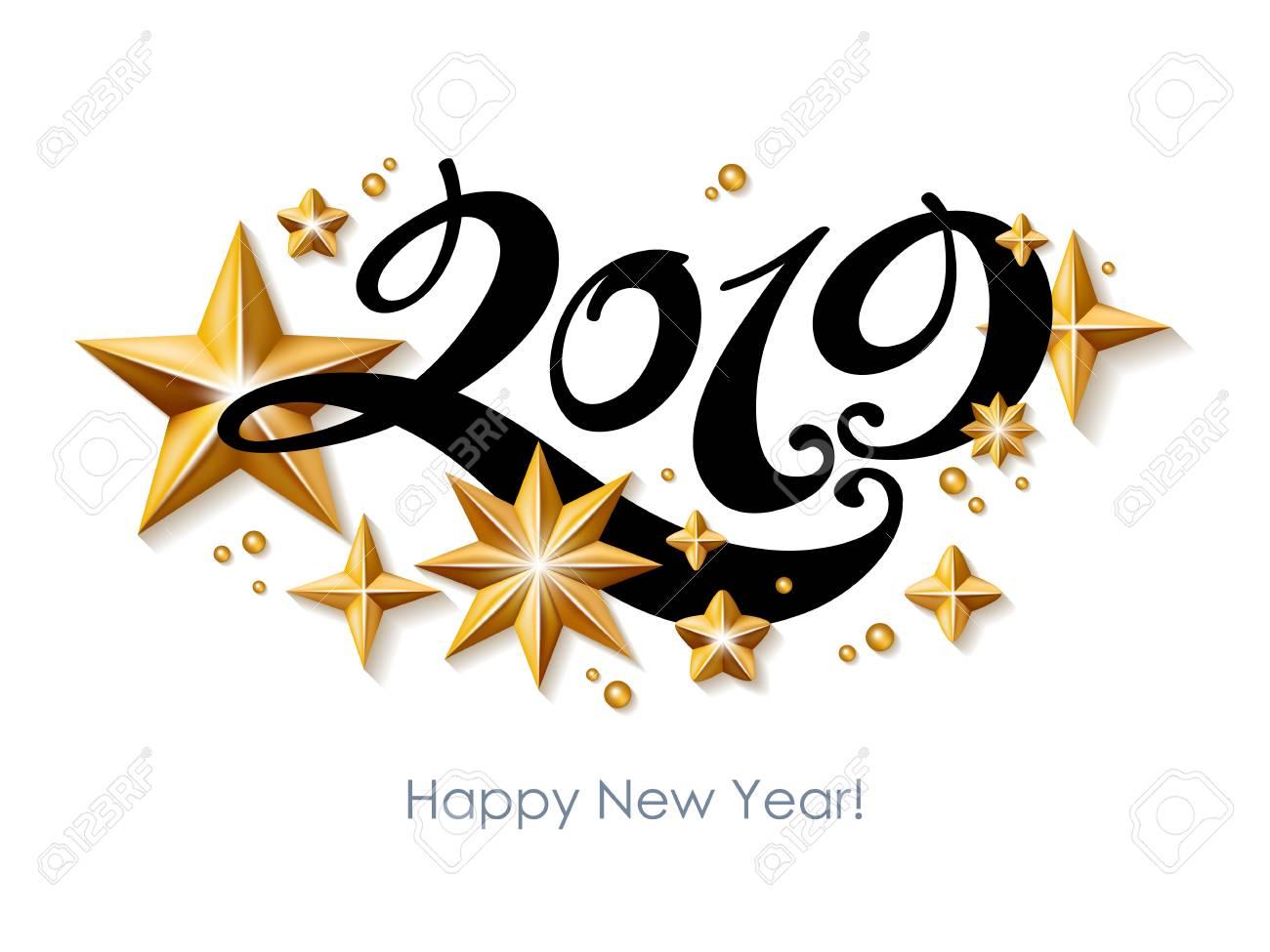 2019 Happy New Year background. Seasonal greeting card template. - 102724525