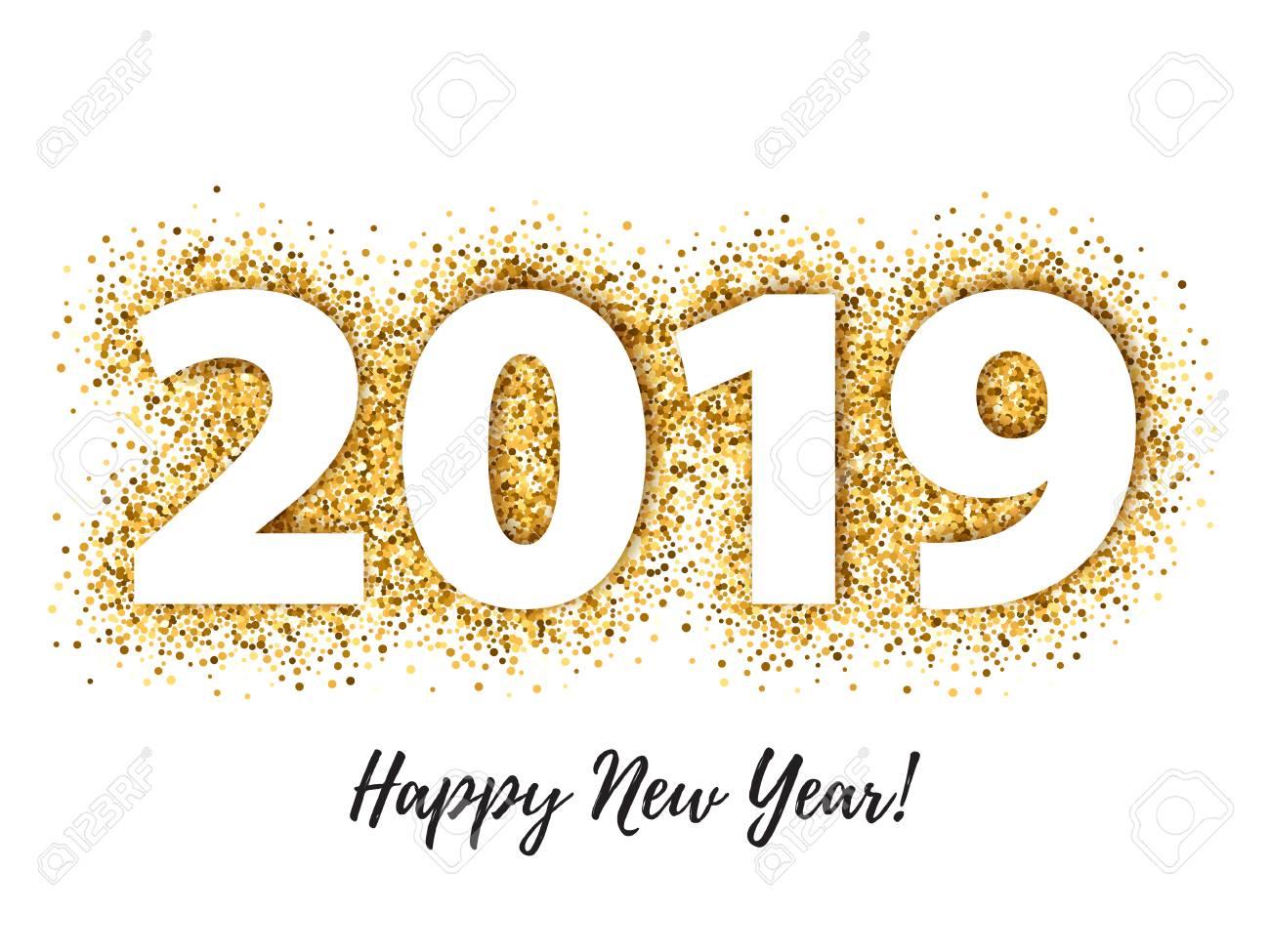 2019 Happy New Year background. Seasonal greeting card template. - 103049134