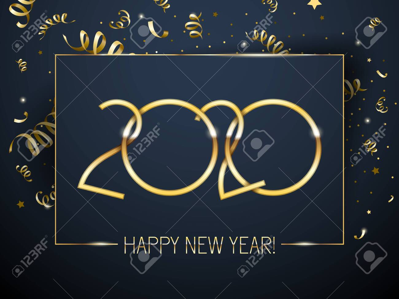2020 Happy New Year background with golden number and serpentine. Christmas winter holidays design. Seasonal greeting card, calendar, brochure template. - 124007647