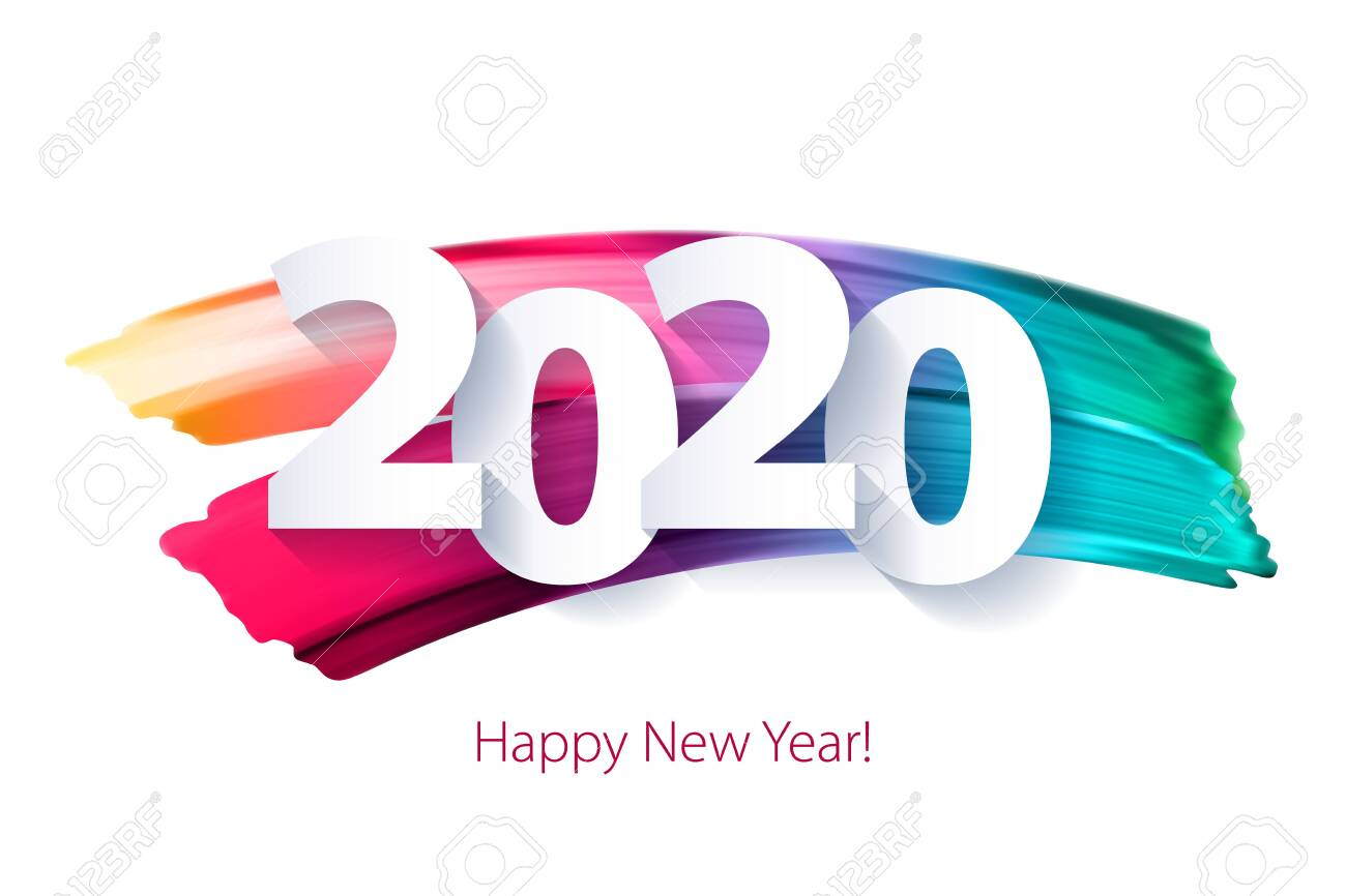 2020 Happy New Year background with colorful numbers. Christmas winter holidays design. Seasonal greeting card, calendar, brochure template. - 124007649