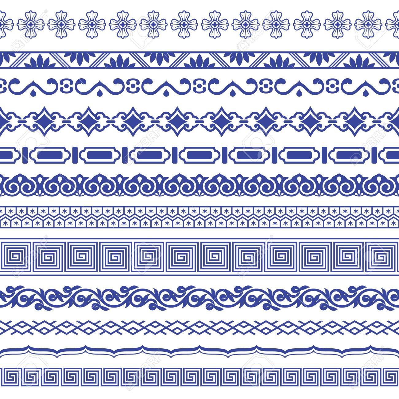 Chinese porcelane seamless borders vector set. - 122477962