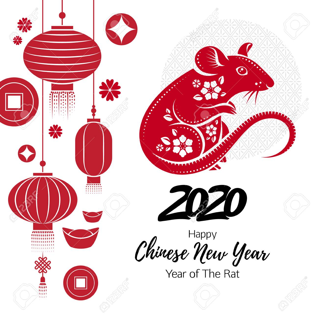 2020 Happy Chinese new year background with Rat. - 122477970