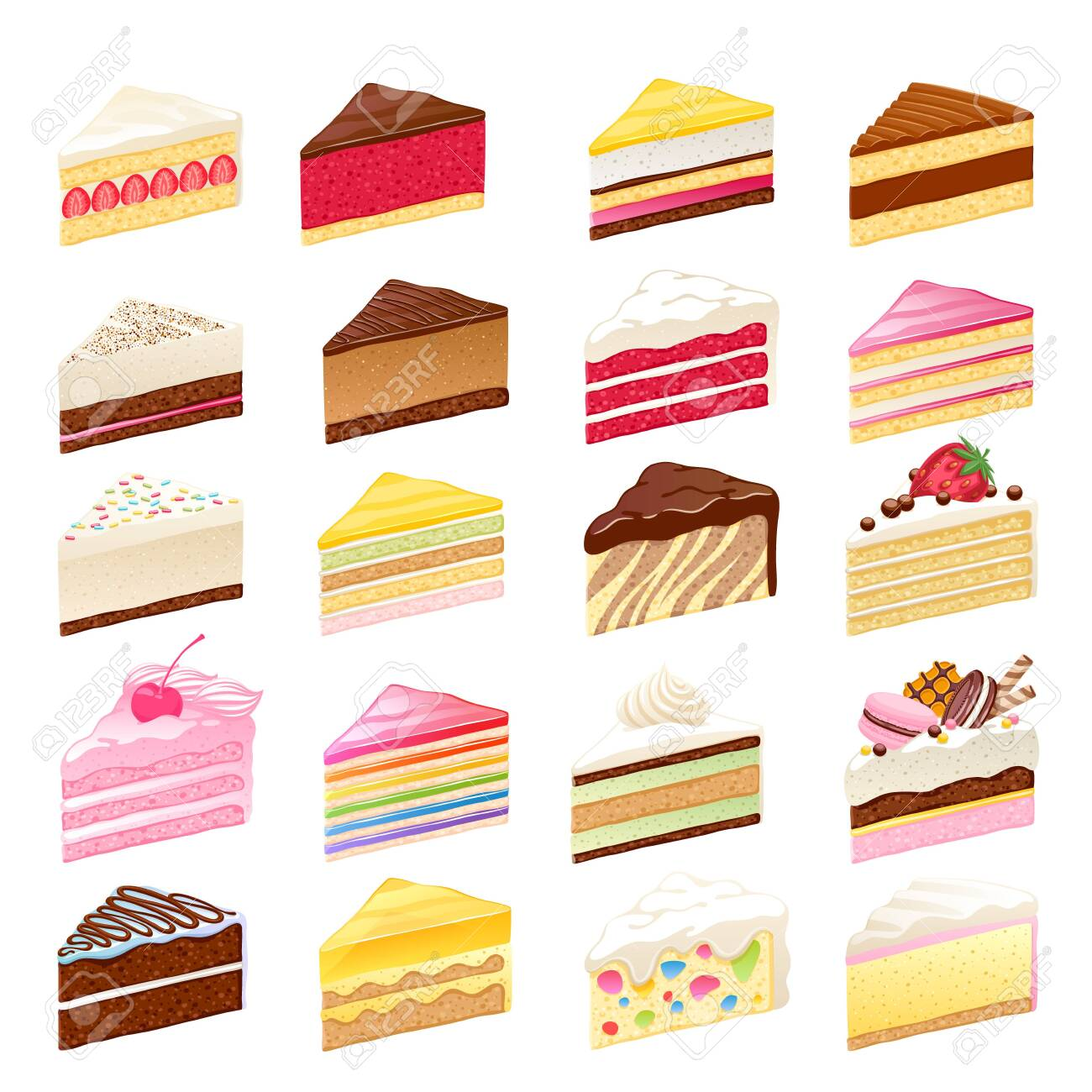 Colorful sweet cakes slices set vector illustration. - 149807864
