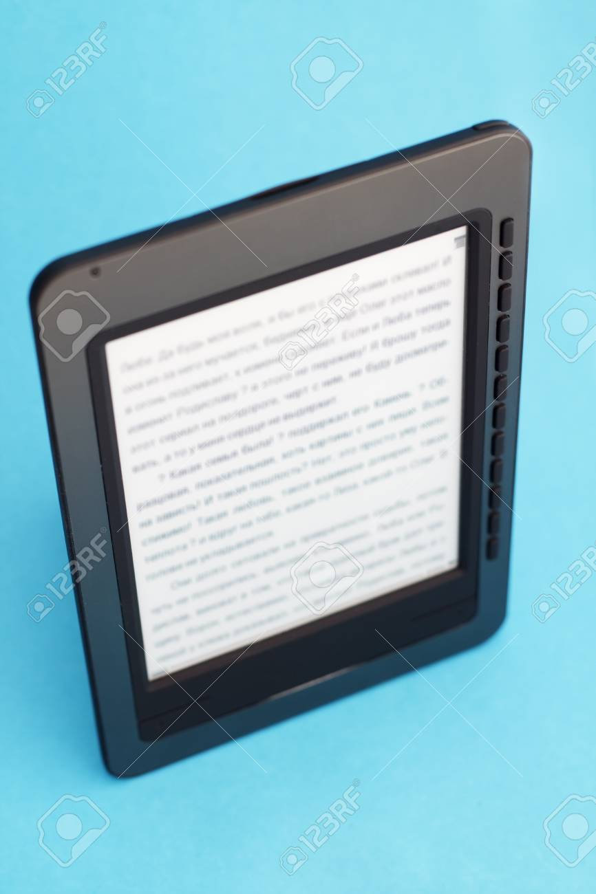 E-book on a blue background Stock Photo - 8632808