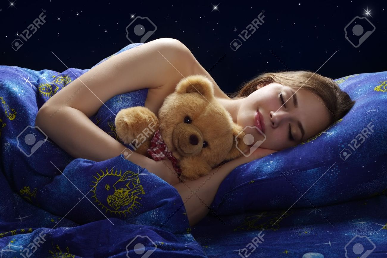 Sleeping Girl on dark background Stock Photo - 15198550