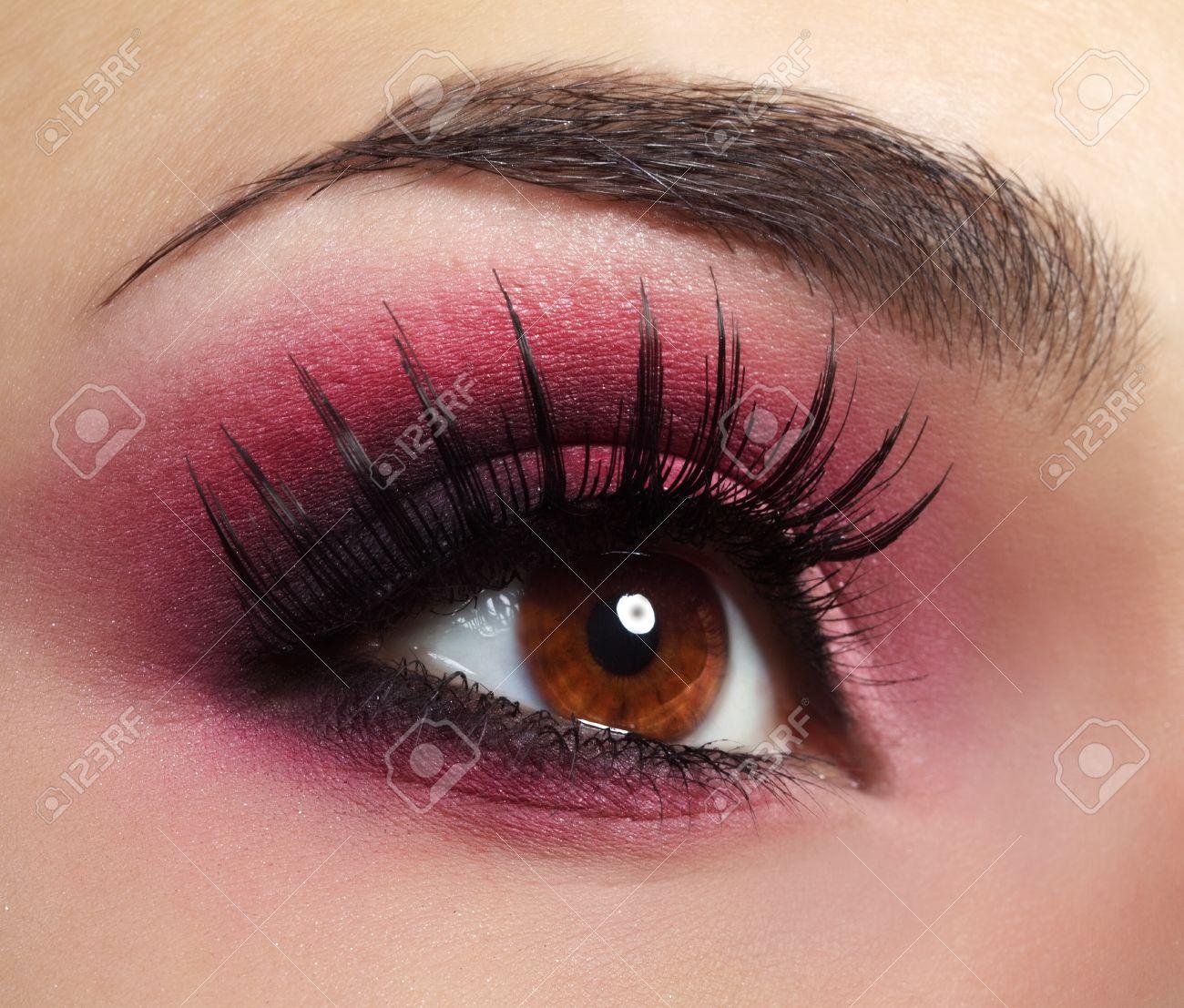 Red Eye Makeup Beautiful eye makeup close up - 15480095