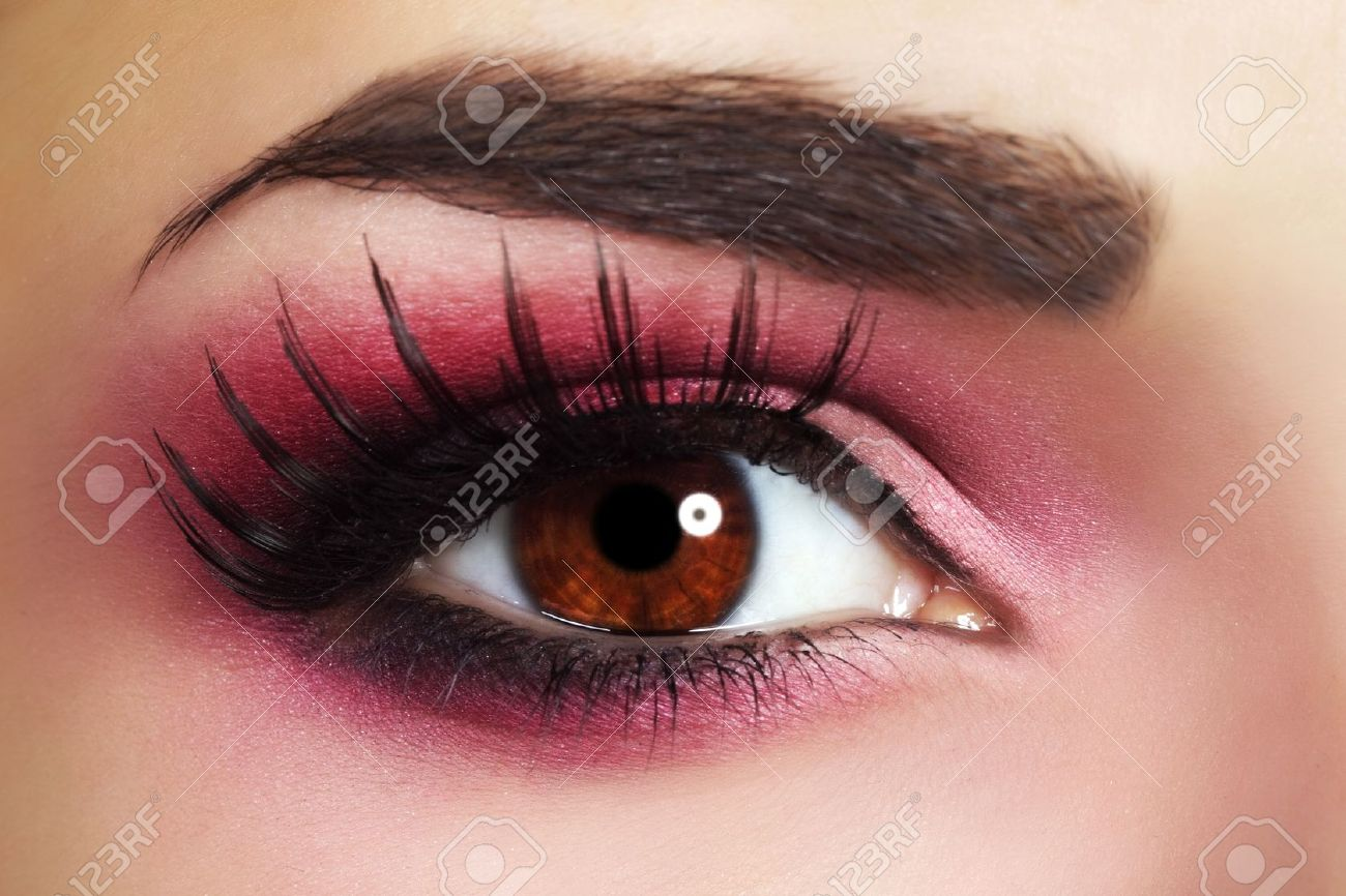 Red Eye Makeup Beautiful Eye Makeup Close Up Stock Photo Picture