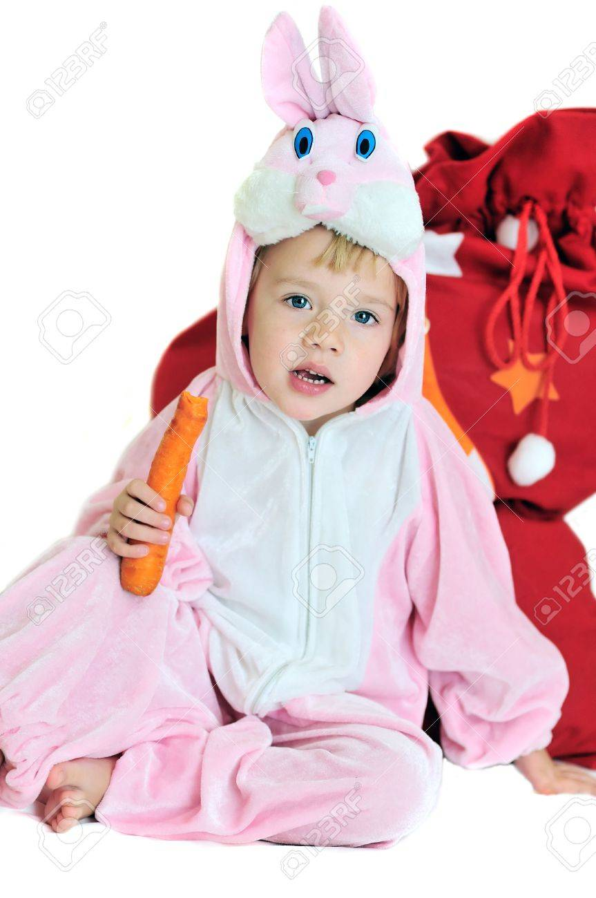 rabbit girl sitting near the bag with gifts Stock Photo - 5946668
