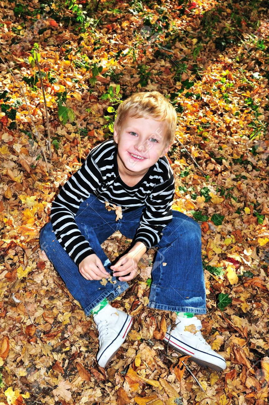 little boy playing with yellow maple leaves in the forest Stock Photo - 6969600