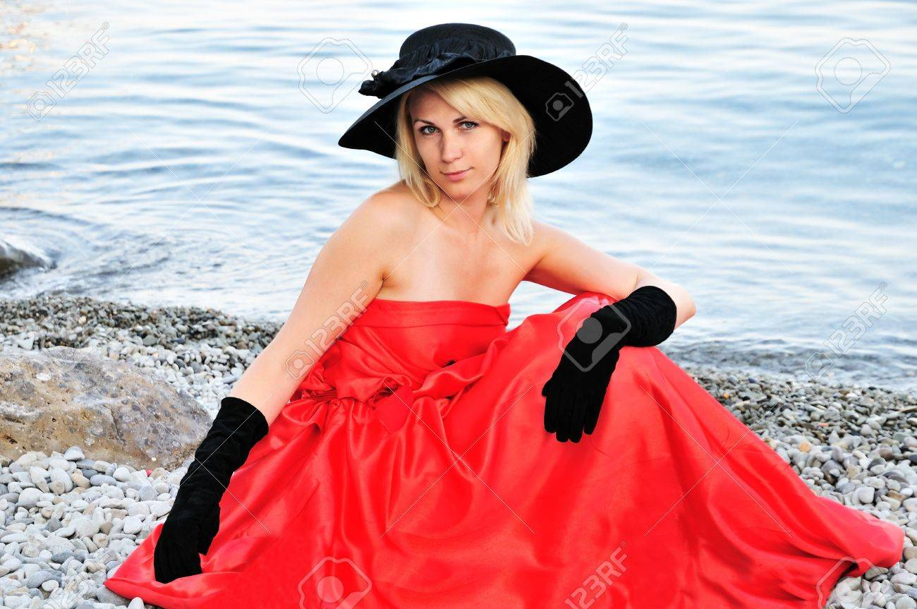 Beautiful Young Woman Wearing Black Hat 9c425539698