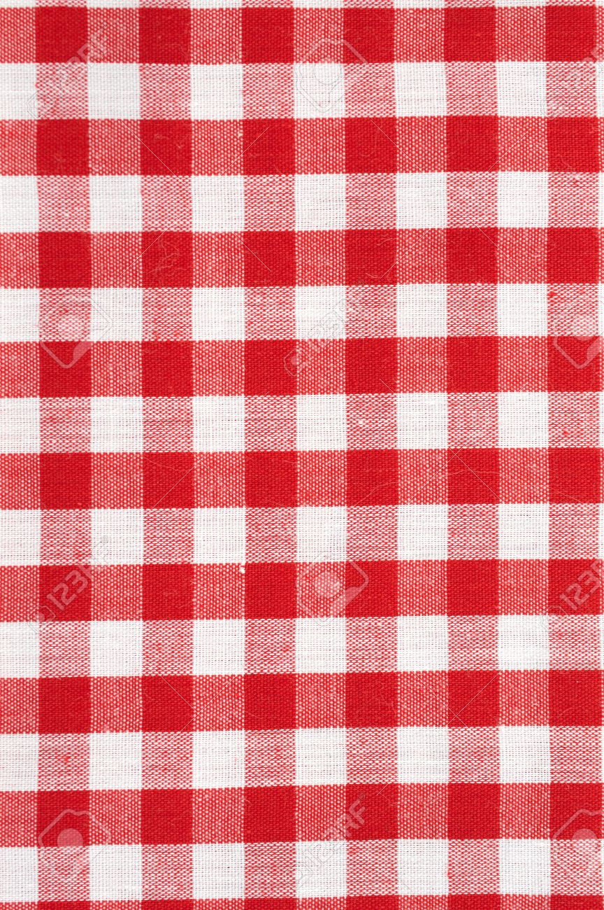 Red And White Checkered Tablecloth Background Stock Photo   26274716