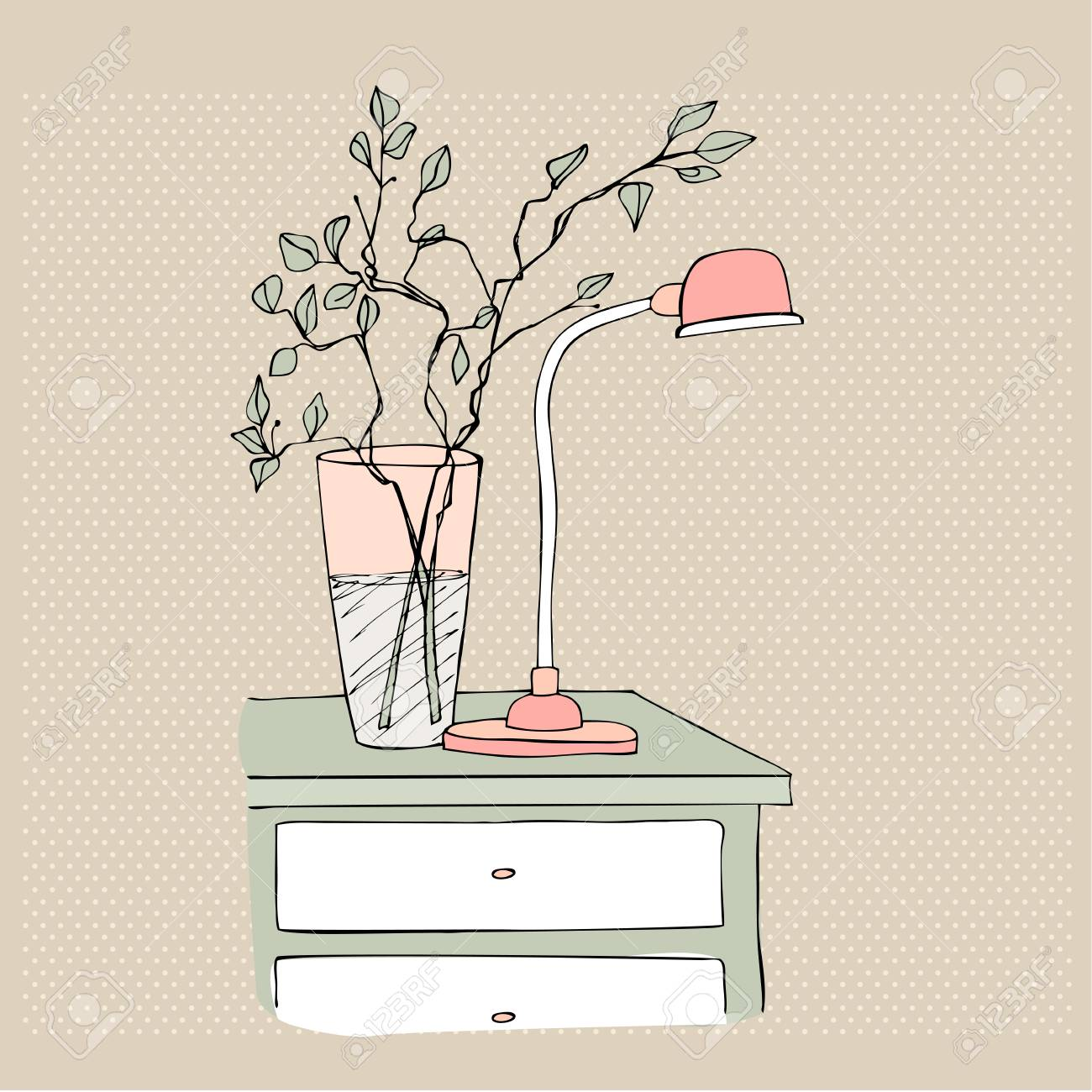 Illustrated bedside table with vase and lamp stock photo picture illustrated bedside table with vase and lamp stock photo 30858044 reviewsmspy