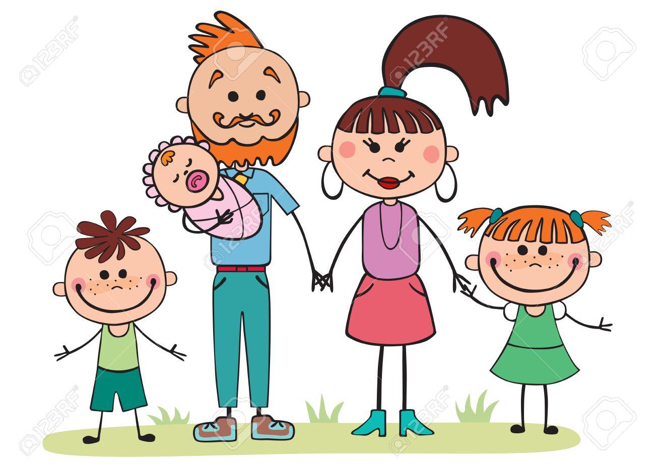 Ilustracion Del Vector Familia De Dibujos Animados 5 Personas