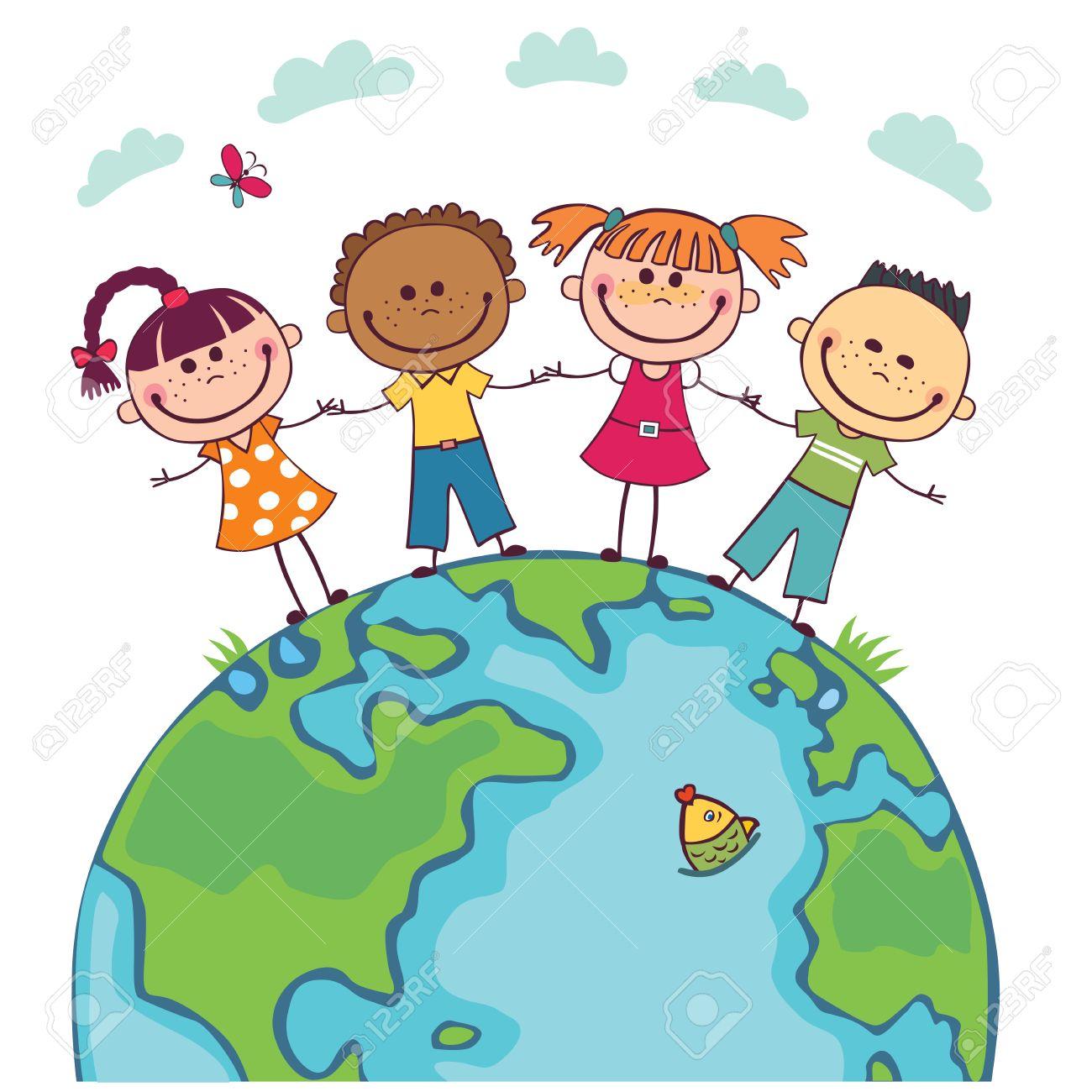 世界中の子供たち。国際親善の日。地球の日。多様な子供たちを保持して ...