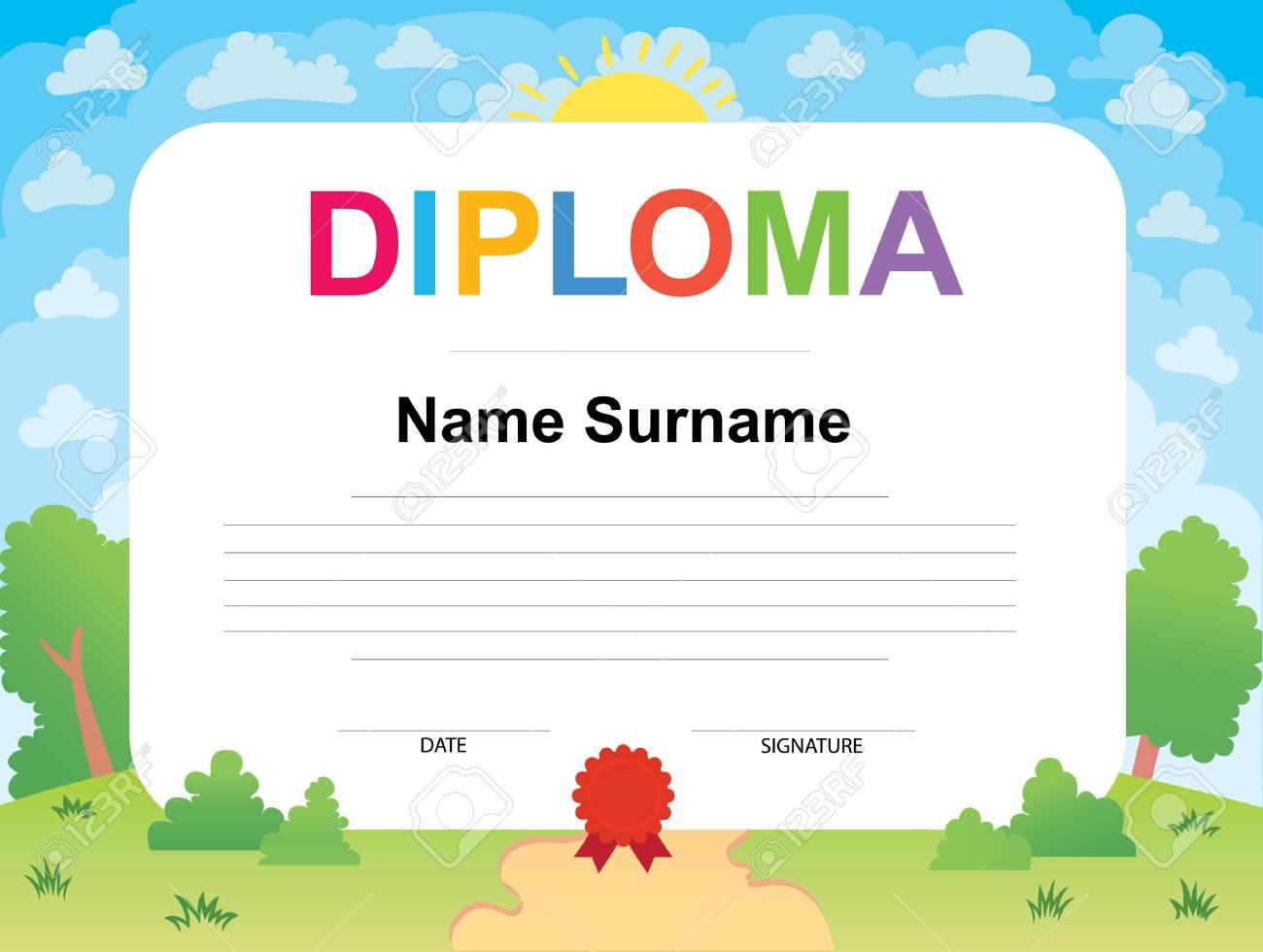 Diploma De Niños Certificado De Antecedentes Ilustración Vectorial ...