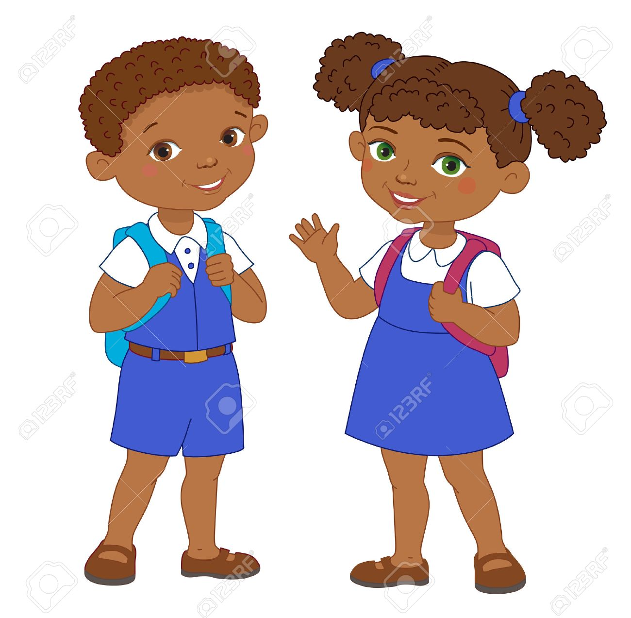 Garçon Et Fille Avec élève Africain De Sacs à Dos Restent Vecteur Isolé école De Dessin Animé