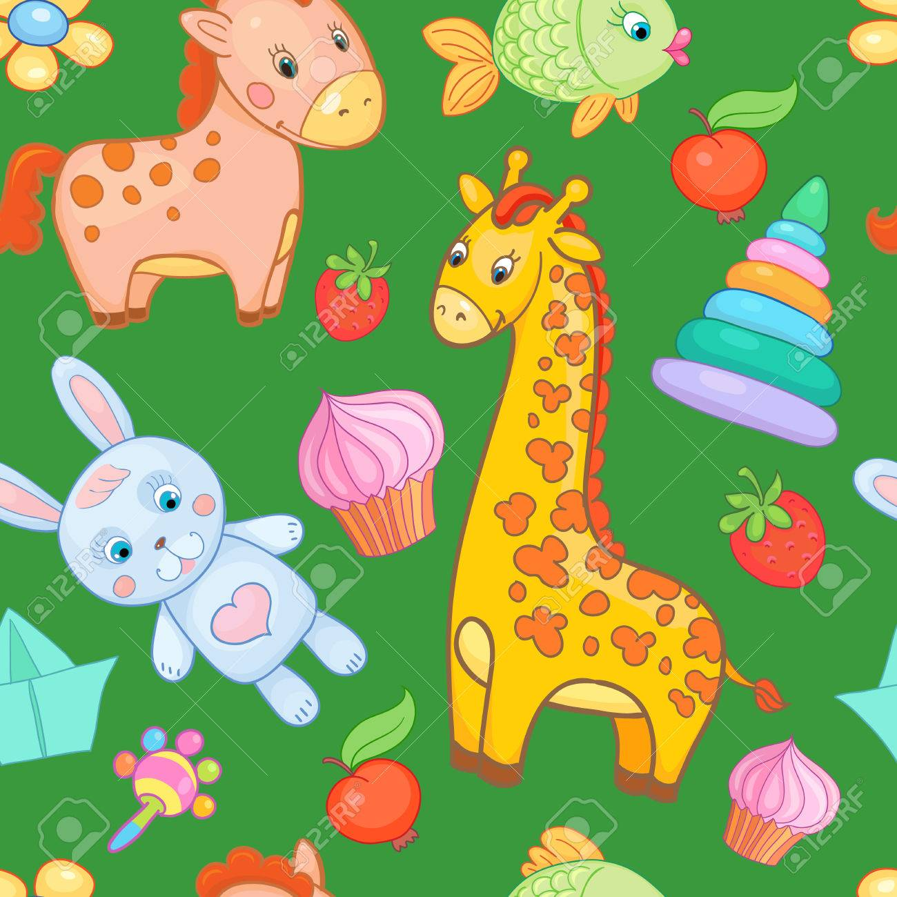 baby toys seamless pattern vector animal cartoon background
