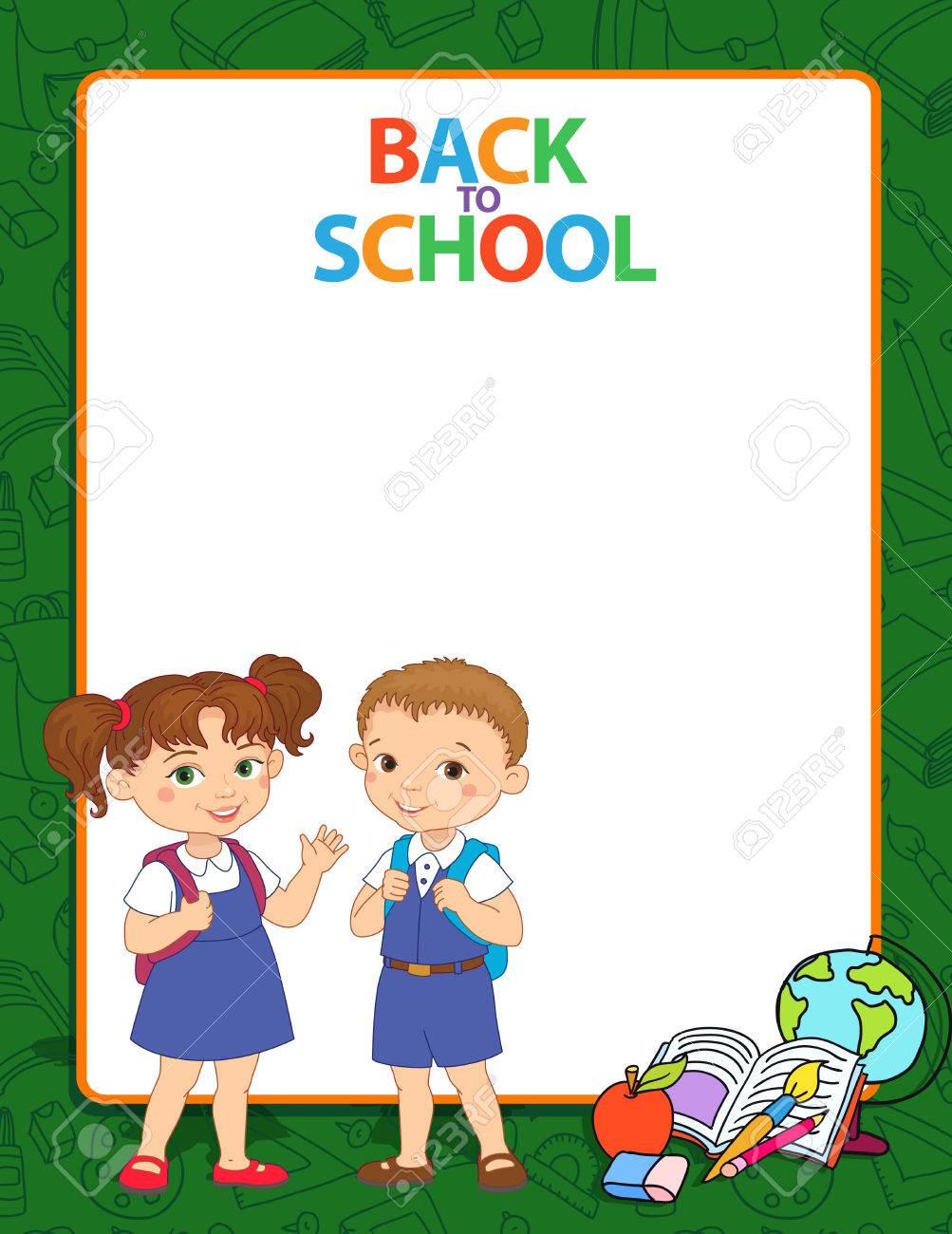 Banner Back To School Boy Girl Pupil Lettering Green Frame Vector