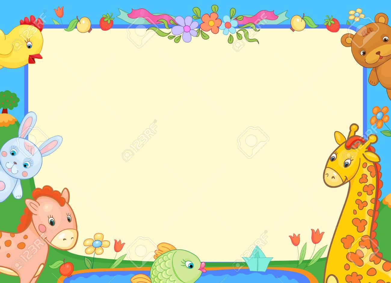 バナー動物幼稚園面白い花メッセージ ベクター イラスト ポスター