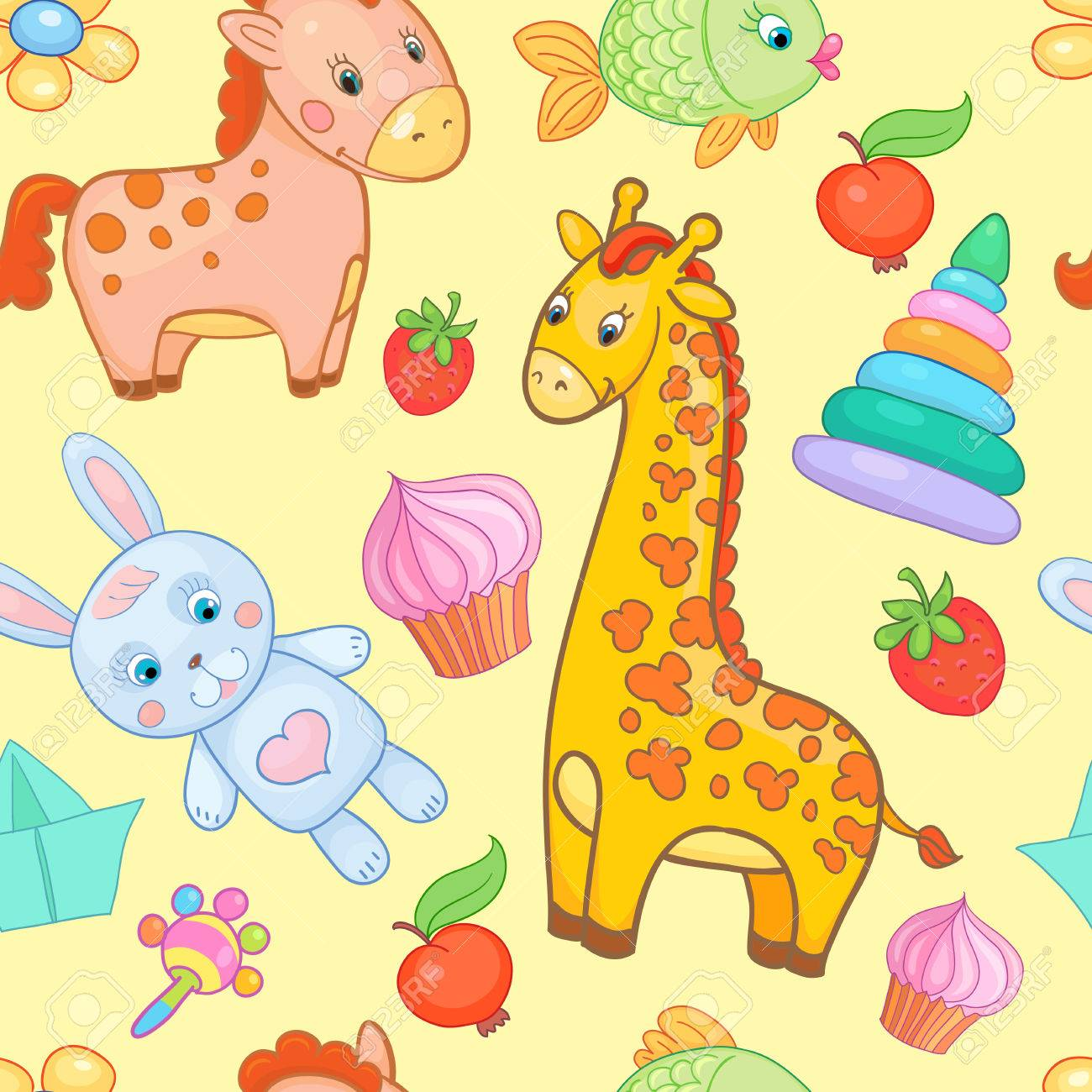 Baby Toys Seamless Pattern Vector Animal Yellow Cartoon Background Wallpaper For Kid Stock