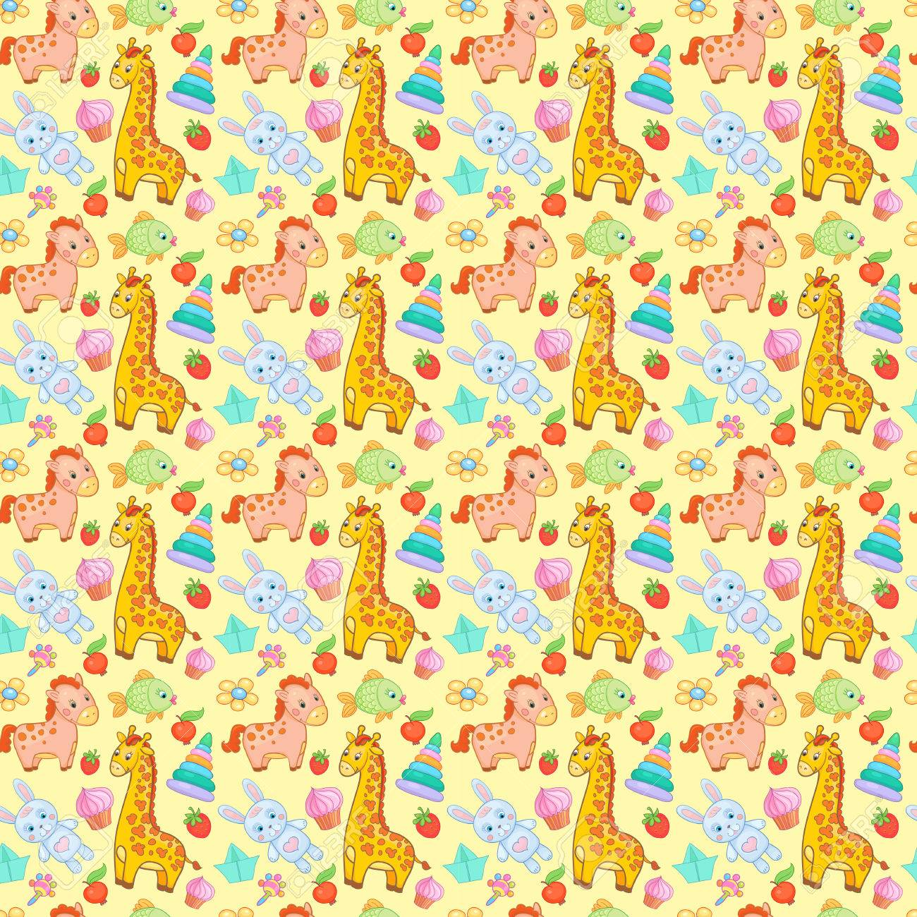 baby toys seamless pattern vector animal background wallpaper