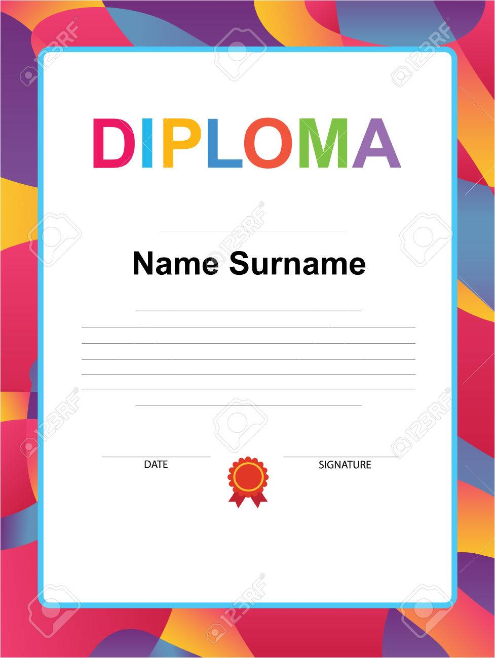 kids diploma certificate background design template royalty free