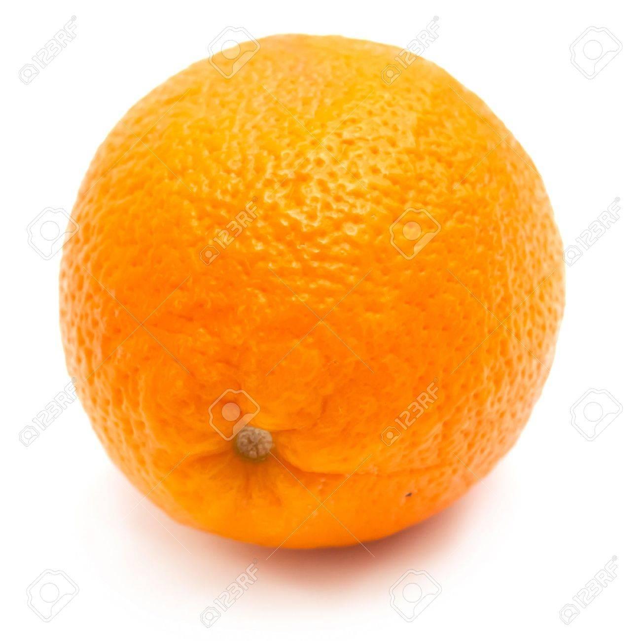 Single orange on white background Stock Photo - 8806196