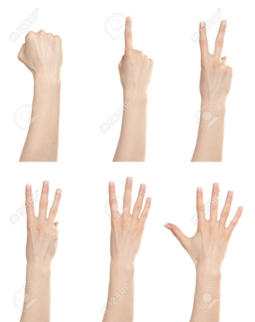 Woman hand gesture set counting numbers from zero to five Stock Photo - 9885157