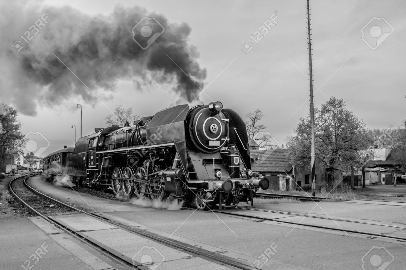Old steam train in black and white stock photo 25395860