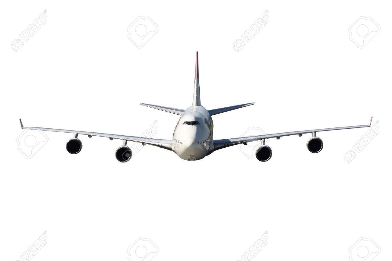 DIrect view on huge four engine airplne on white background - 38206623