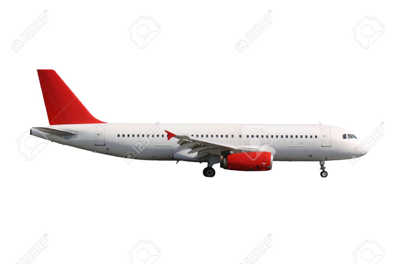 White plane with red tail on white background - 38206629