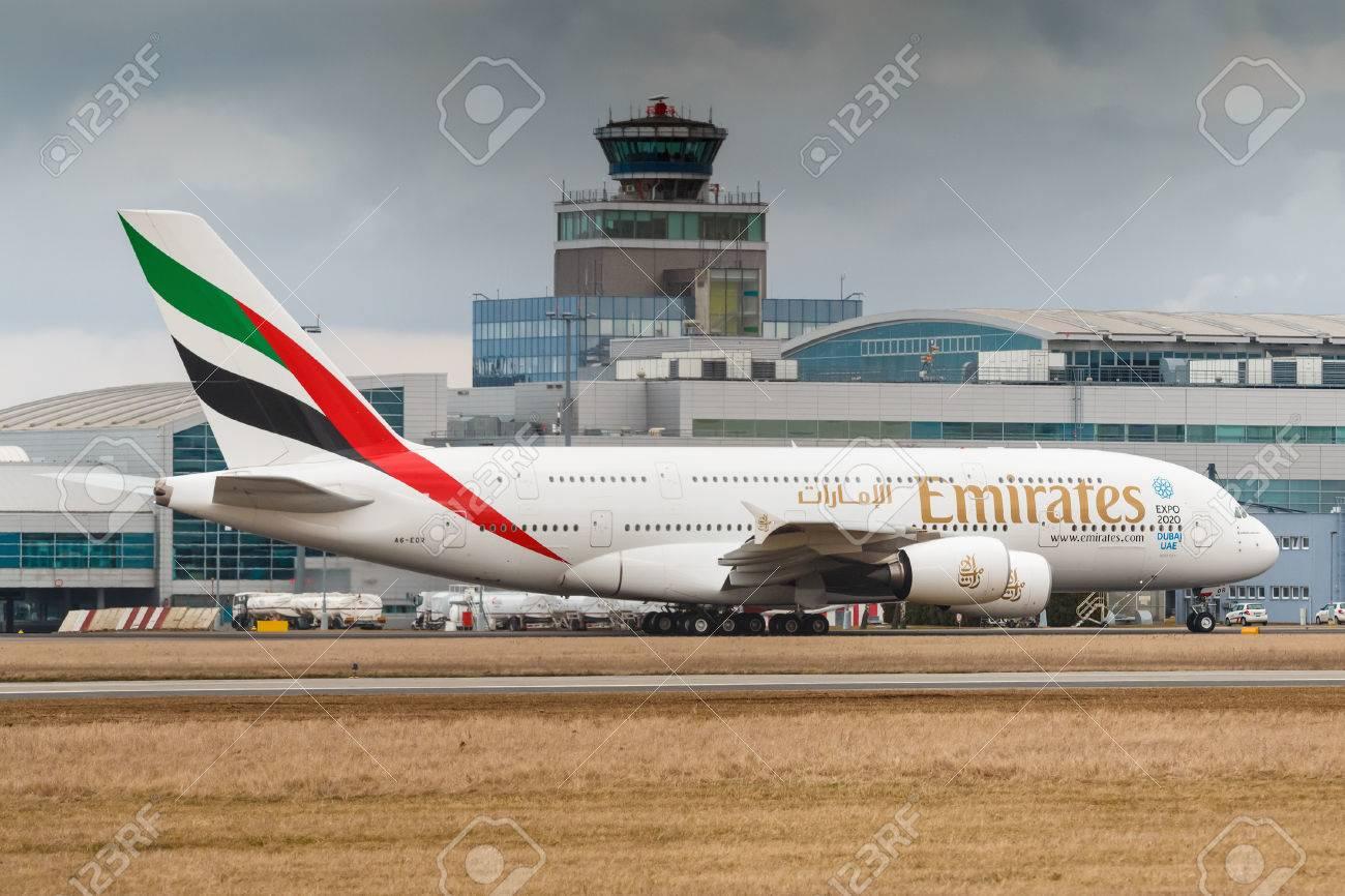 PRAGUE, CZECH REPUBLIC - MARCH10: Airbus A380-800 Emirates taxi