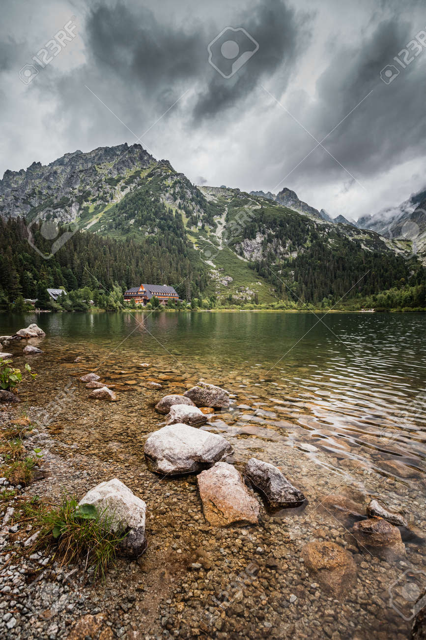 Popradské pleso (once called Rybie pleso) is a mountain lake of glacial origin located in the High Tatras, Slovakia. - 168110922