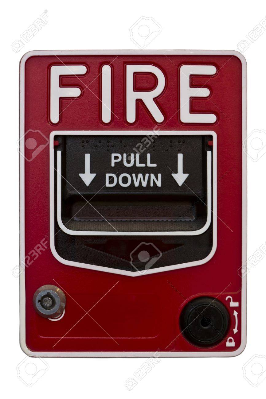red wall style fire alarm Stock Photo - 12035610